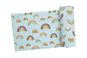 Rainbows Blue Swaddle Blanket