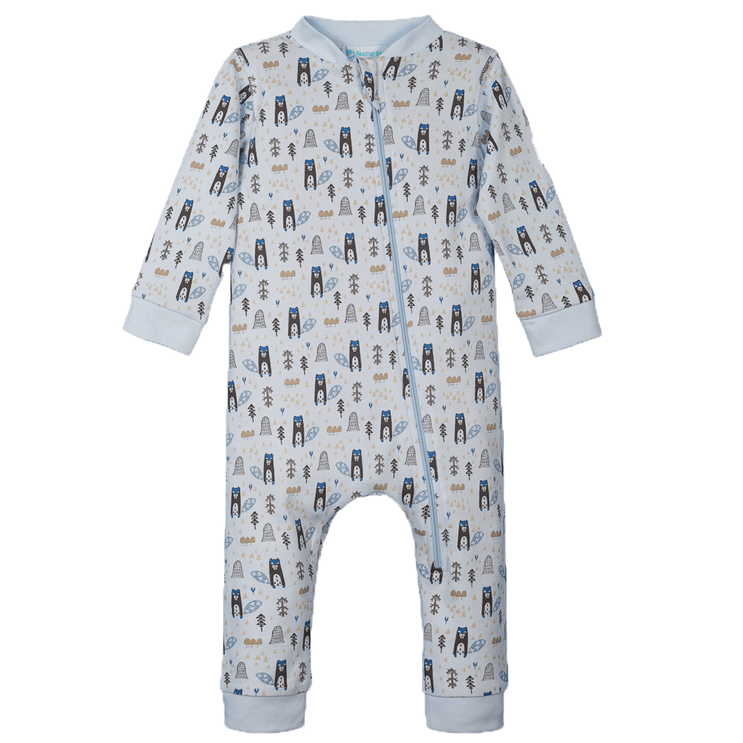 Baby Blue Zipper Romper with Beavers