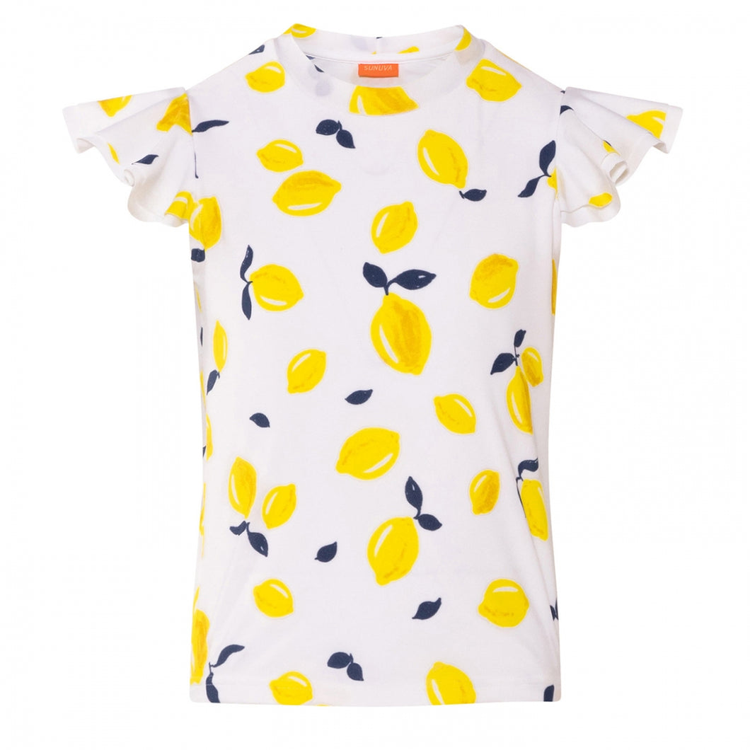 White Sicilian Lemon Short Sleeve Rash Vest