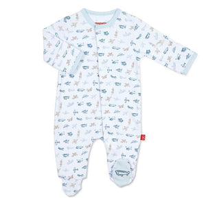 Airplane Organic Cotton Magnetic Footie