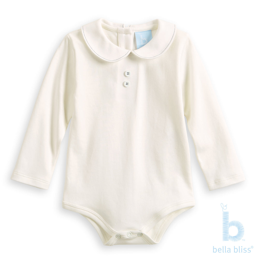 Button Front Peter Pan Pima Tee in Ivory with Blue