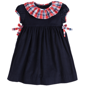 1z 2z 3z frierson plaid bow bow dress blue corduroy classic clothing little english