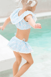 Eyelet Two Piece Swimsuit in Blue Daisies Lycra