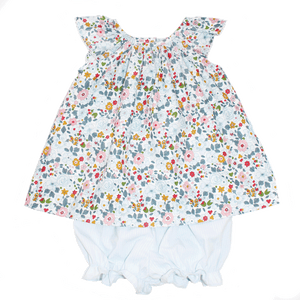 Basic Girl Bloomer Set with Blue and Florals