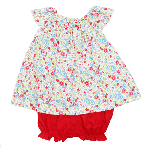 Basic Girl Bloomer Set with Red and Strawberry Floral