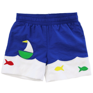 1z 2z 3z Boat and Fish Applique Swim Short Florence Eiseman Richmond, Virginia Baby Swim trunk