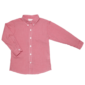 Basic Boy Button Down in Red Mini Check