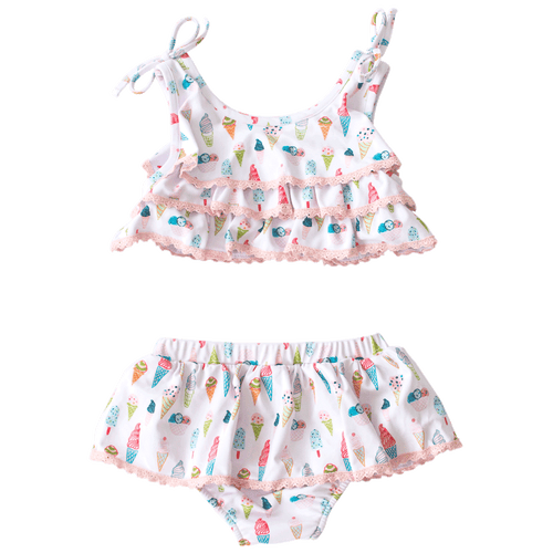 Tiered Two Piece Swimsuit in Ice Cream Lycra