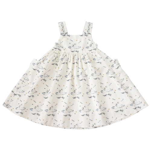 Garden Party Dress in Swans Print
