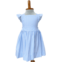 Blue and White Striped Dress with Cross Back