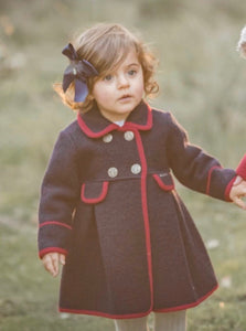 Navy with Red Trim Princess Coat