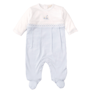 Premier Brigantine Footie with Light Blue Hand Embroidery