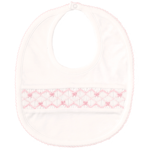 CLB Summer Bows White Bib with Hand Smocking