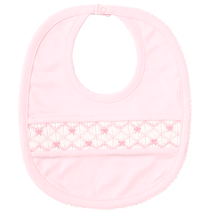 CLB Summer Bows Pink Bib with Hand Smocking