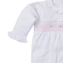 Fall White and Pink Footie with Hand Smocking