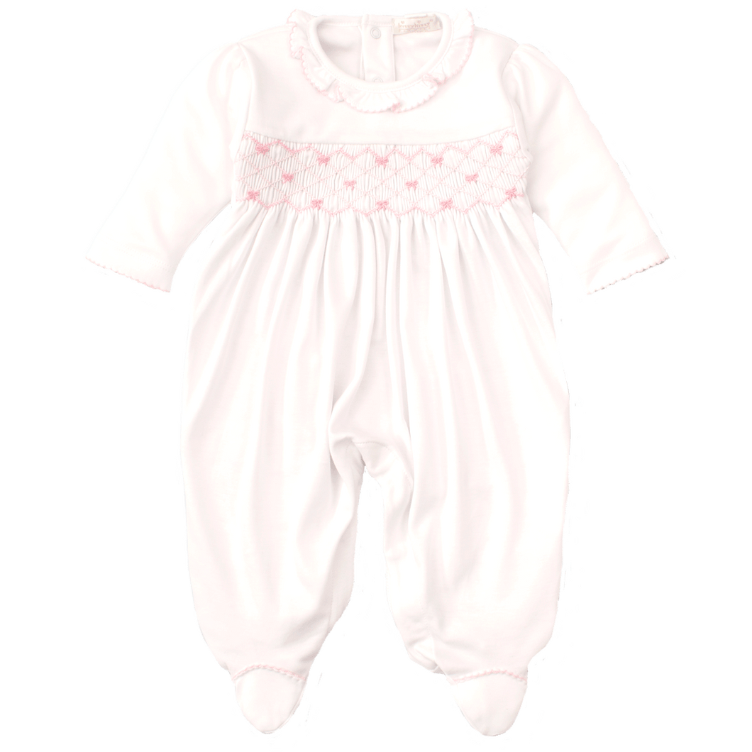 CLB Summer Bows White Footie with Hand Smocking