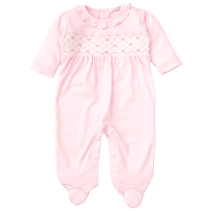 CLB Summer Bows Pink Footie with Hand Smocking