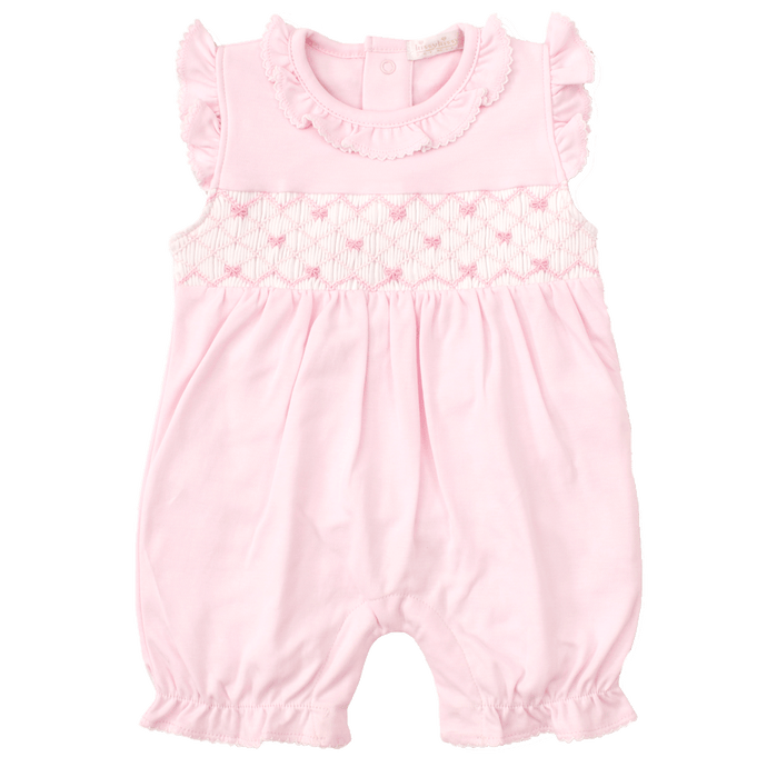 CLB Summer Bows Pink Short Playsuit with Hand Smocking