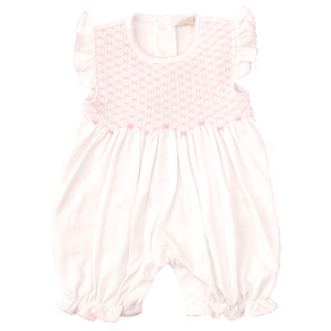 CLB Summer Bows White Short Playsuit with Hand Smocking