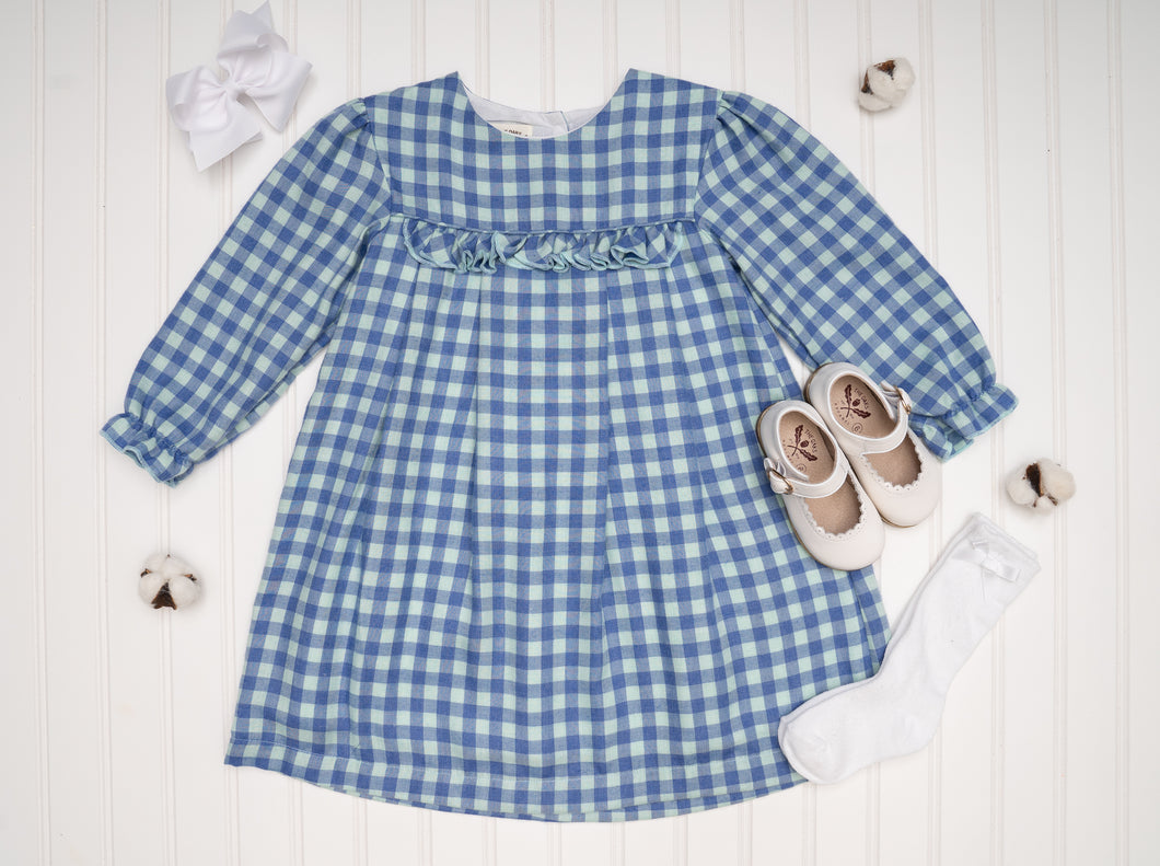 Logan Blue Green Check Dress
