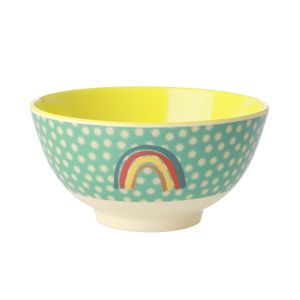 Melamine Bowl with Rainbow and Stars Print