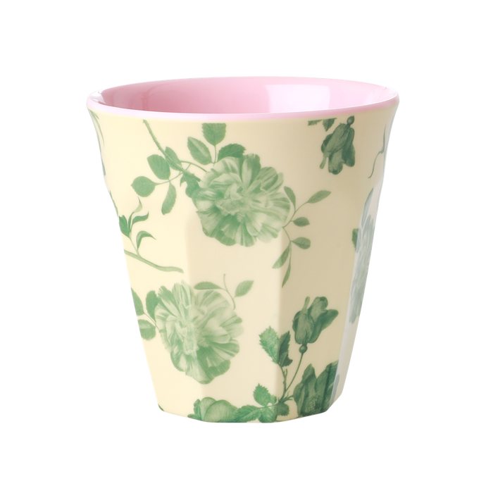Melamine Cup with Green Rose Print