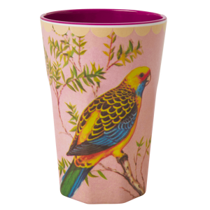 Melamine Cup with Vintage Budgie Print
