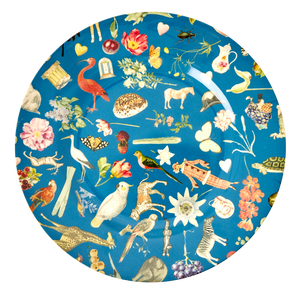 Melamine Dinner Plate with Blue Art Print