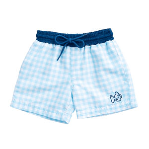 Swim Trunk in Aqua Gingham