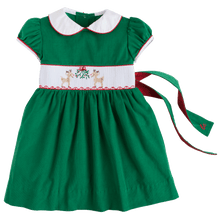 Reindeer Smocked Peter Pan Dress Green Corduroy by Little English Classic Children and Toddler boutique