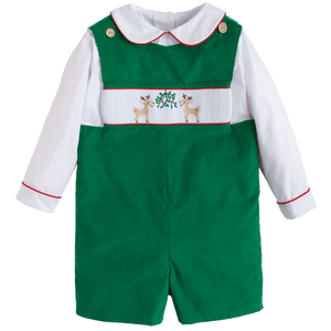 Smocked Reindeer Christmas Jon Jon Little English Classic Childrens Boutique Clothing