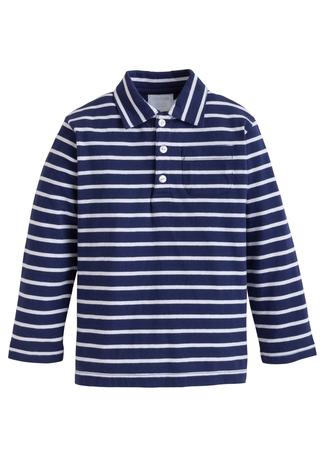 Long Sleeve Navy Striped Polo