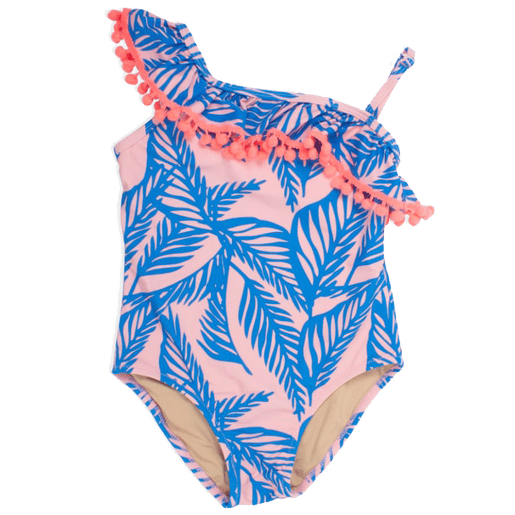 One Shoulder Blue Palm Reader One Piece