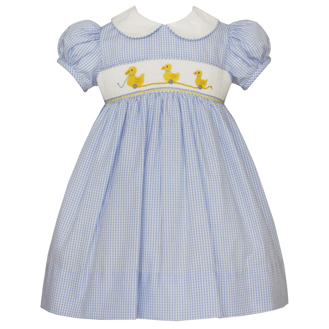 Duckies Dress with White Collar and Light Blue Mini Check