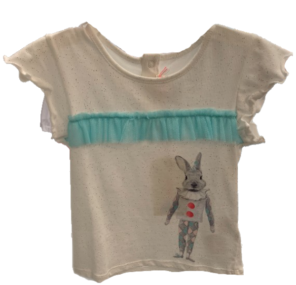 Rabbit Graphic Tee with Blue Tulle