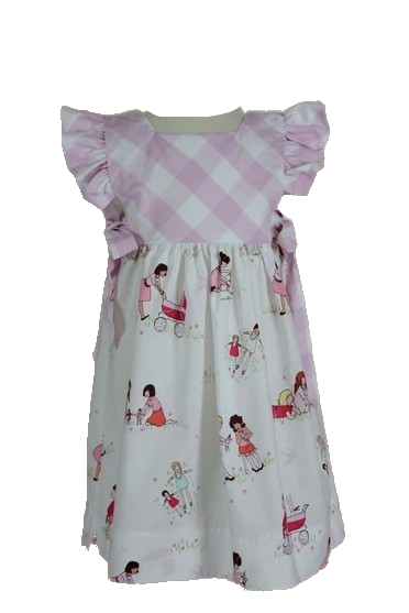 Doll Print Dress with Pink Check