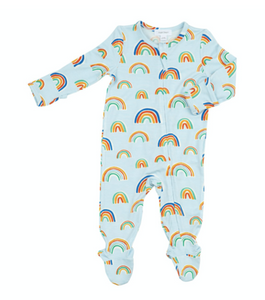 Rainbows Blue Zipper Footie