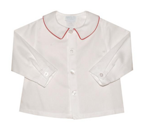 White Boys Shirt with Red Piped Collar