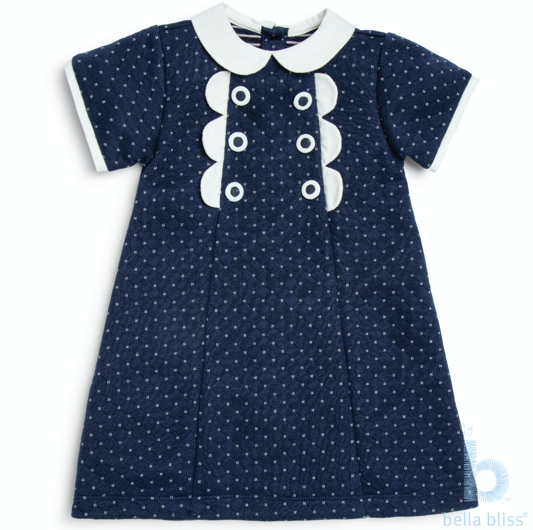 Scalloped Phyllis Dress in Navy Dot Jersey