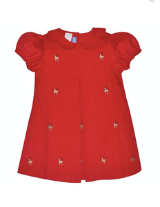 Red Reindeer Corduroy Dress With Peter Pan Collar