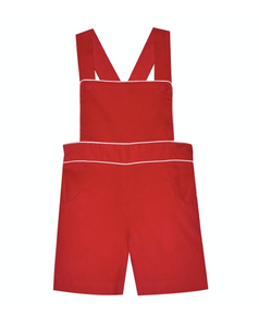 Red Corduroy Suspender Shortall With White Piping