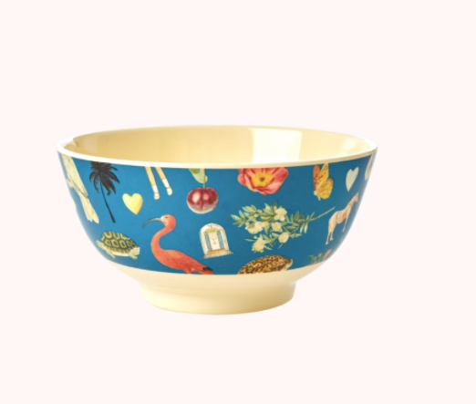 Melamine Bowl with Blue Art