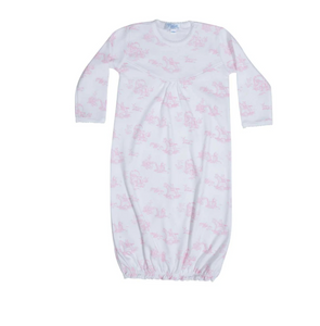 Pink Toile Baby Gown