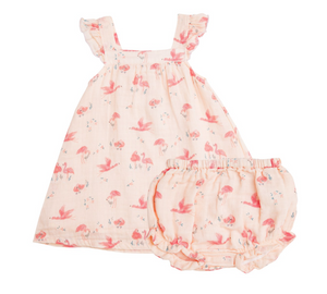 Flamingo Muslin Dress