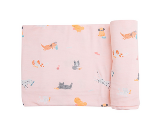 Puppy Play Pink Swaddle Blanket
