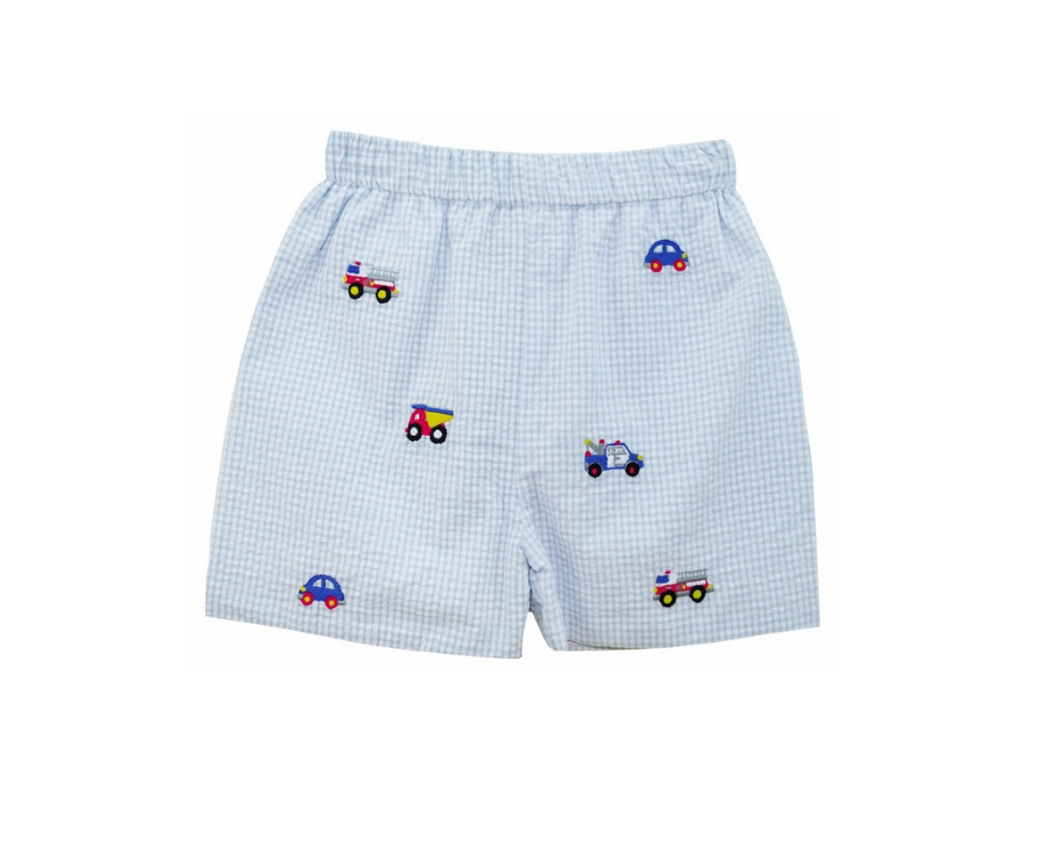 Embroidered Boy Truck Short