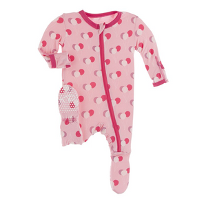 Lotus Birthday Pink Print Zipper Footie