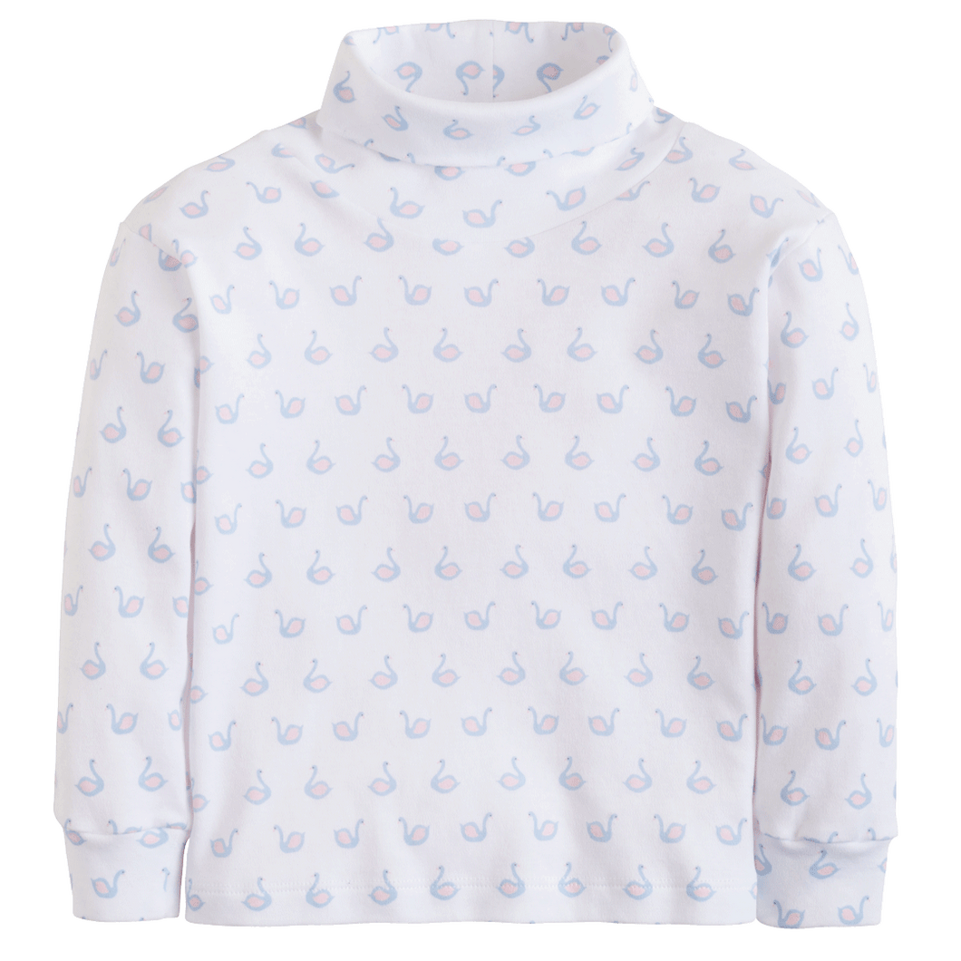 swan printed turtleneck