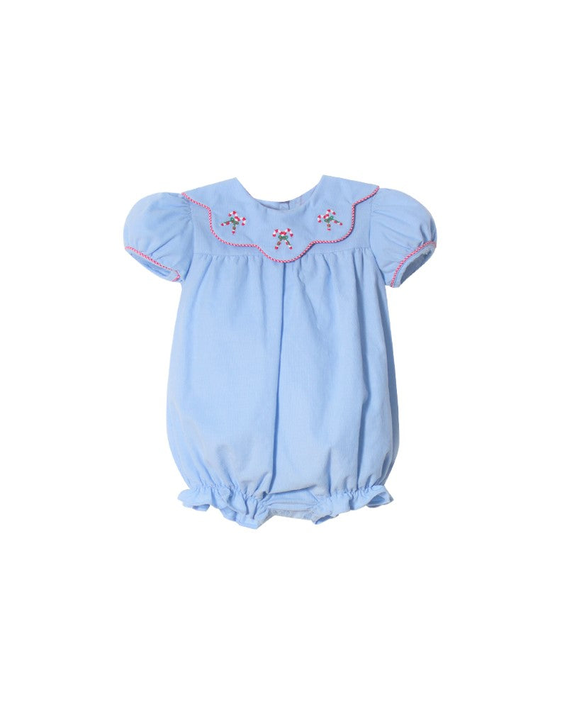 Embroidered Girl Candy Cane Bubble in Cloud Corduroy