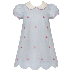 Bunnies Dress with Scallop Hem in Light Blue Seersucker